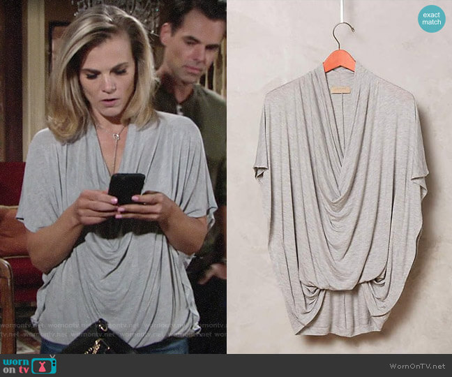Anthropologie Language Diminuendo Draped Top worn by Gina Tognoni on The Young & the Restless