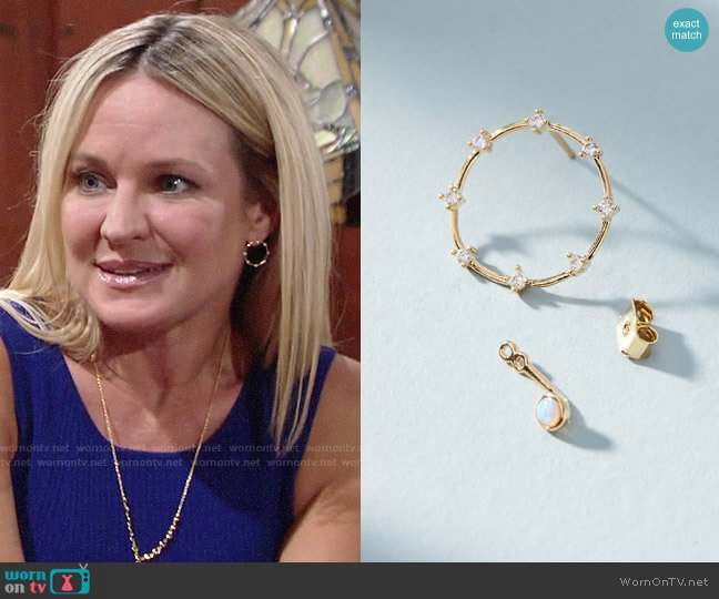 Anthropologie Nova Front Back Earrings worn by Sharon Collins (Sharon Case) on The Young & the Restless