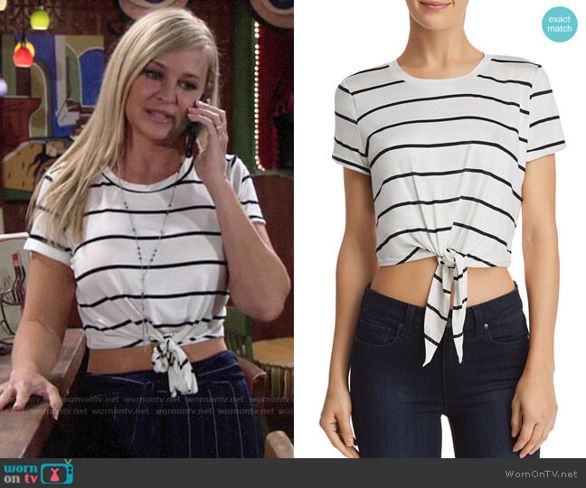 Aqua Tie-Front Cropped Striped Tee worn by Sharon Case on The Young & the Restless