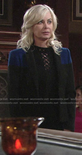 Ashley's black criss-cross front jumpsuit and two-tone blazer on The Young and the Restless