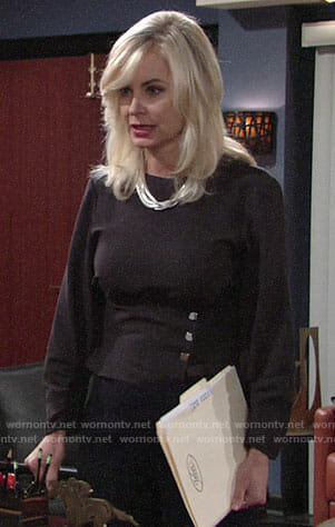 Ashley's black top with buttons on The Young and the Restless