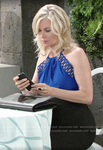 Ashley's blue looped trim top on The Young and the Restless