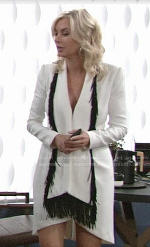 Ashley's white dress with fringed scarf on The Young and the Restless
