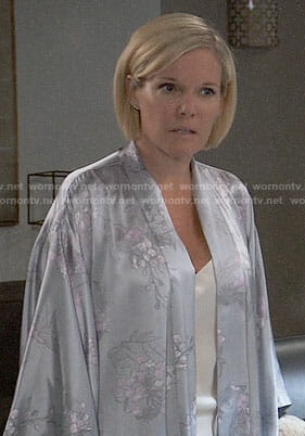 Ava's silver floral robe on General Hospital