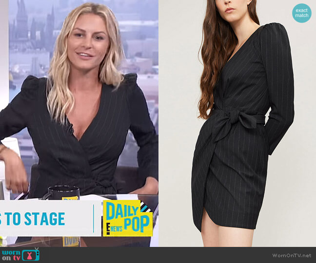 Pinstriped woven mini dress by BA&SH worn by Morgan Stewart on E! News