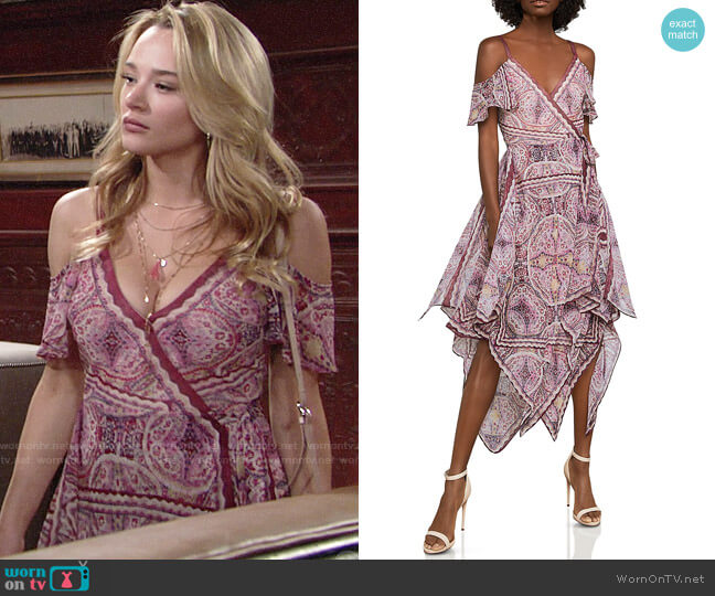 Bcbgmaxazria Cold-Shoulder Festival Paisley Wrap Dress worn by Summer Newman (Hunter King) on The Young & the Restless