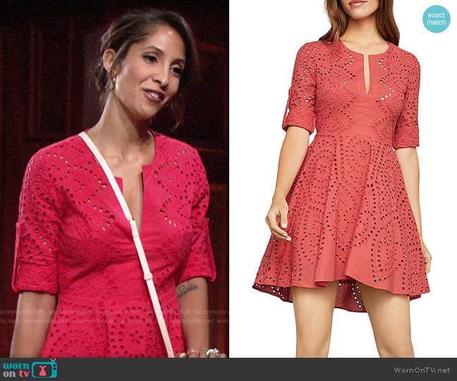 Bcbgmaxazria Eyelet Fit and Flare Dress worn by Lily Winters (Christel Khalil) on The Young & the Restless
