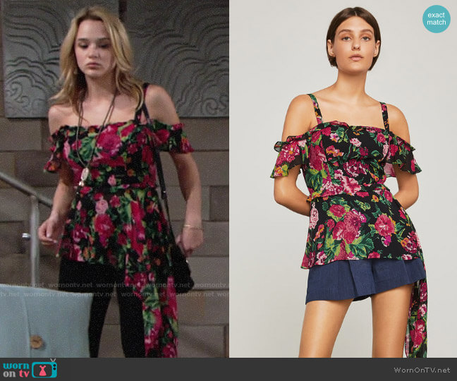 Bcbgmaxazria Off-The-Shoulder Floral Drape Top worn by Summer Newman (Hunter King) on The Young & the Restless