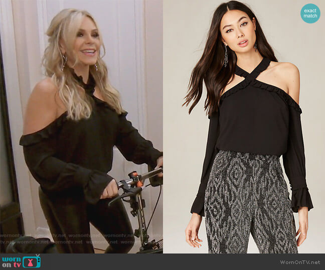 Crossneck Cold Shoulder Top by Bebe worn by Tamra Judge  on The Real Housewives of Orange County