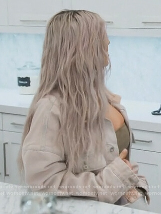 Kim's beige denim jacket on Keeping Up with the Kardashians