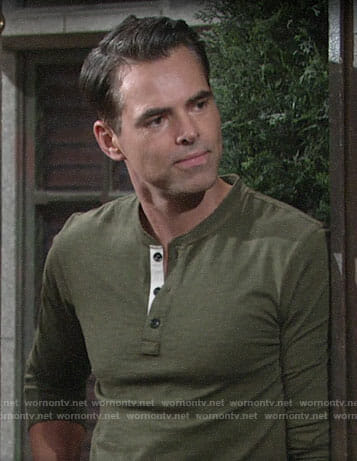 Billy's green henley tee on The Young and the Restless
