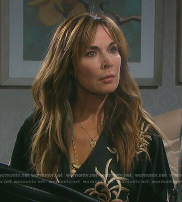 Kate's black embroidered robe on Days of Our Lives