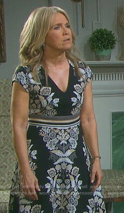 Jennifer's black floral embroidered dress on Days of our Lives