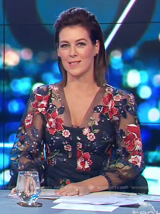 Gorgi's floral embroidered mesh dress on The Project