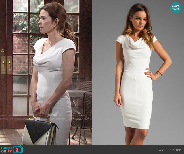 Black Halo Gretchen Dress worn by Victoria Newman (Amelia Heinle) on The Young & the Restless