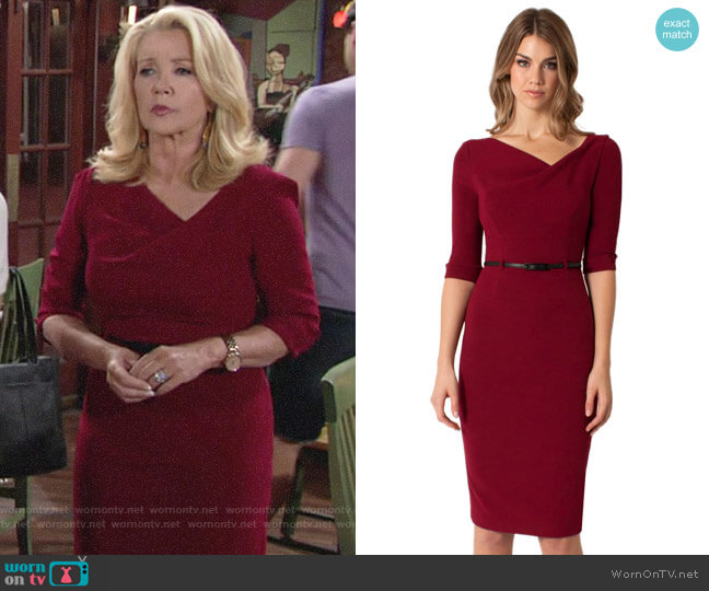 Black Halo 3/4 Sleeve Jackie O Dress in Mulberry worn by Melody Thomas-Scott on The Young & the Restless
