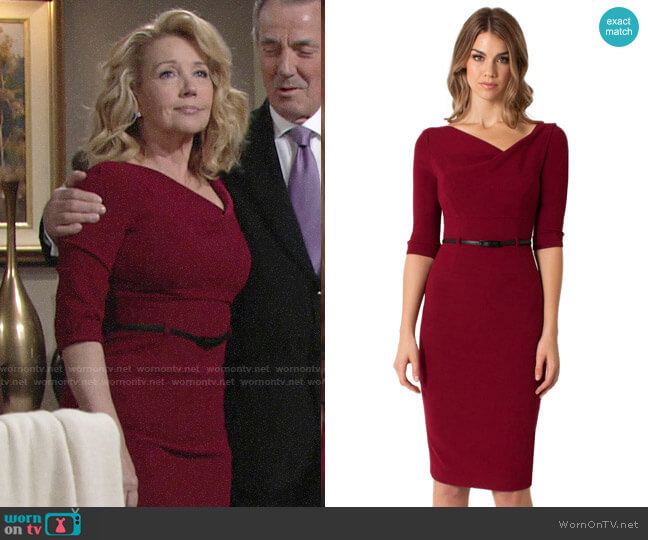 Black Halo 3/4 Sleeve Jackie O Dress in Mulberry worn by Nikki Reed Newman (Melody Thomas-Scott) on The Young & the Restless