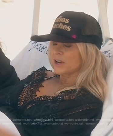 Tamra's black v-neck lace cover-up on The Real Housewives of Orange County