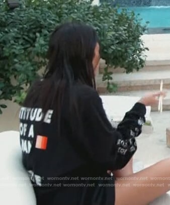 Kourtney's black printed sweatshirt on Keeping Up with the Kardashians