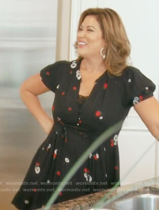 Emily's black strawberry print v-neck dress on The Real Housewives of Orange County