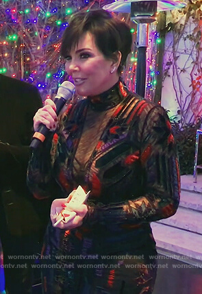 Kris's black sheer panel gown on Keeping Up with the Kardashians