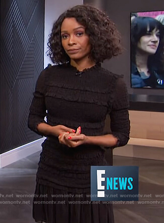 Zuri's black smocked ruffle dress on E! News