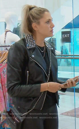 Gina's studded leather jacket on The Real Housewives of Orange County