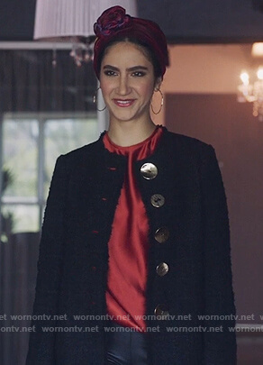 Adena's black tweed coat on The Bold Type