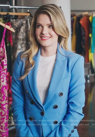 Sutton's blue button detail blazer on The Bold Type