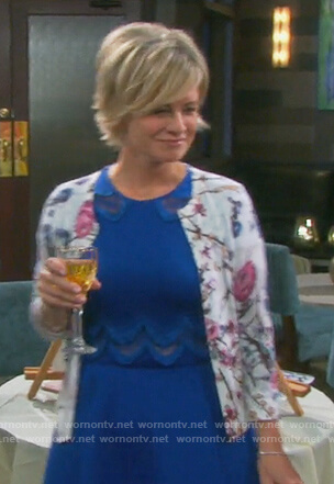 Kayla's blue embroidered dress and floral cardigan on Days of our Lives