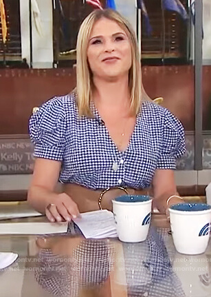 Jenna's blue gingham print dress on Today