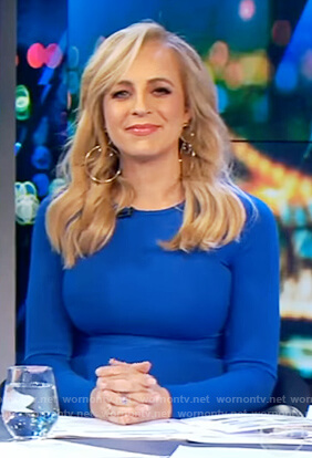 Carrie's blue long sleeve dress on The Project