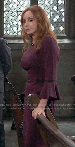 Bobbie's purple bell-sleeve dress on General Hospital