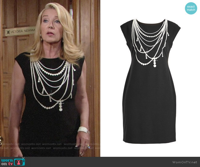 Boutique Moschino Pearl Print Jersey Dress worn by Nikki Reed Newman (Melody Thomas-Scott) on The Young & the Restless