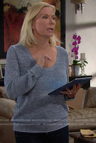 Brooke's blue sweater on The Bold and the Beautiful