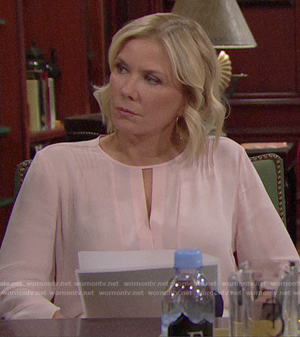 Brooke's pink keyhole blouse on The Bold and the Beautiful