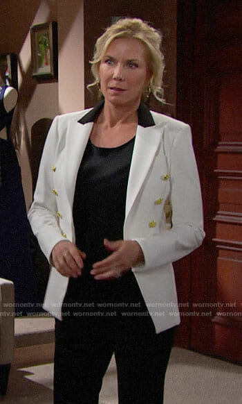 Brooke's white blazer with black collar on The Bold and the Beautiful