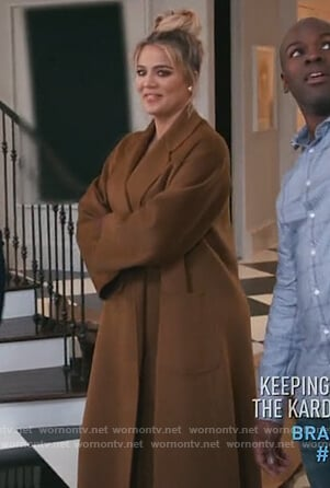 Khloe's brown belted coat on Keeping Up with the Kardashians