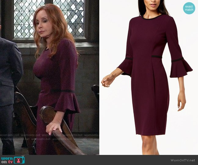Calvin Klein Piped Bell-Sleeve Sheath Dress worn by Bobbie Spencer (Jackie Zeman) on General Hospital