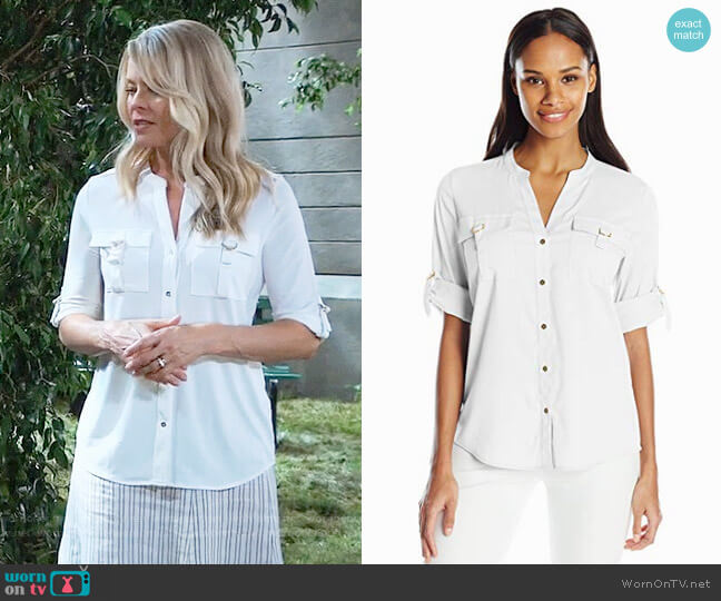 Calvin Klein D-Ring Pocket Blouse worn by Kristina Wagner on General Hospital