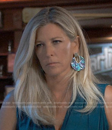 Carly's large round marbled earrings on General Hospital