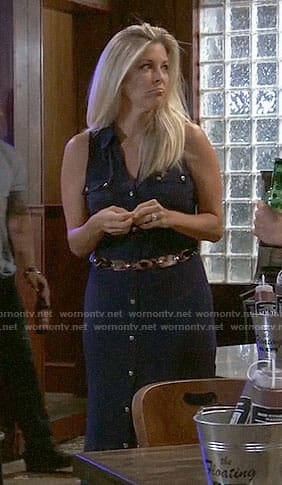 Carly's navy button front maxi dress on General Hospital