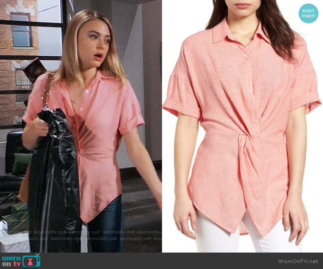 Caslon Twist Front Linen Blend Shirt in Coral Rose worn by Hayley Erin on General Hospital