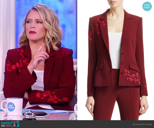 Gabrielle Floral Embroidered Blazer by Cinq a Sept worn by Sara Haines  on The View