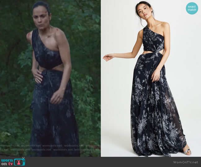 Inky Floral Goldie Dress by Cinq a Sept worn by Alice Braga on Queen of the South