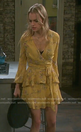 Claire's yellow floral wrap dress on Days of our Lives
