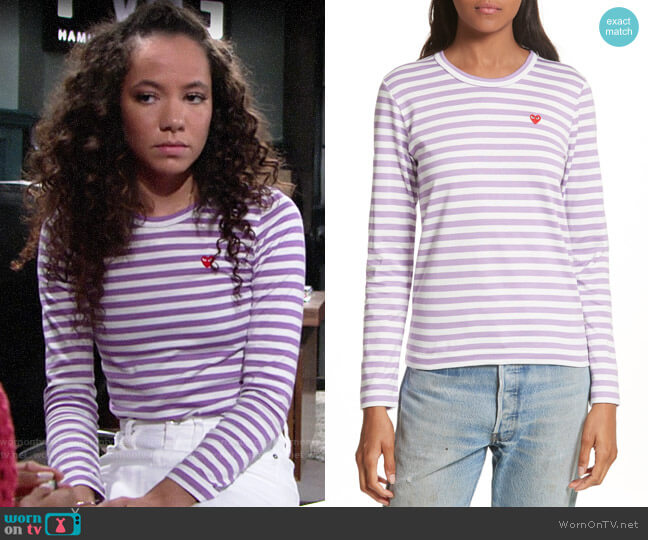 Comme des Garcons PLAY Stripe Tee worn by Lexie Stevenson on The Young & the Restless