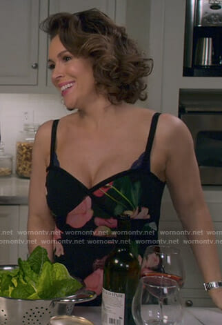 Coralee's black floral dress on Insatiable