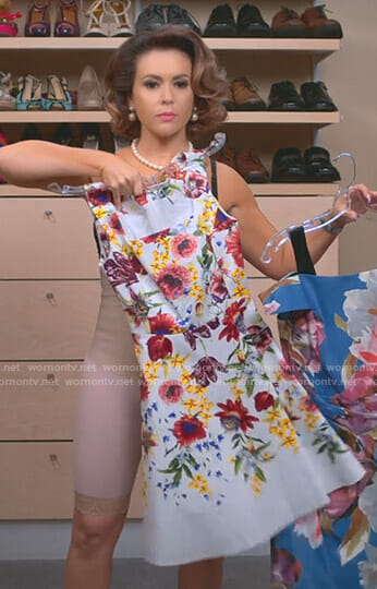 Coralee's white floral dress on Insatiable