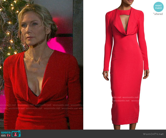 Pencil Dress with Cowl by Cushnie Et Ochs worn by Kristen DiMera (Stacy Haiduk) on Days of our Lives